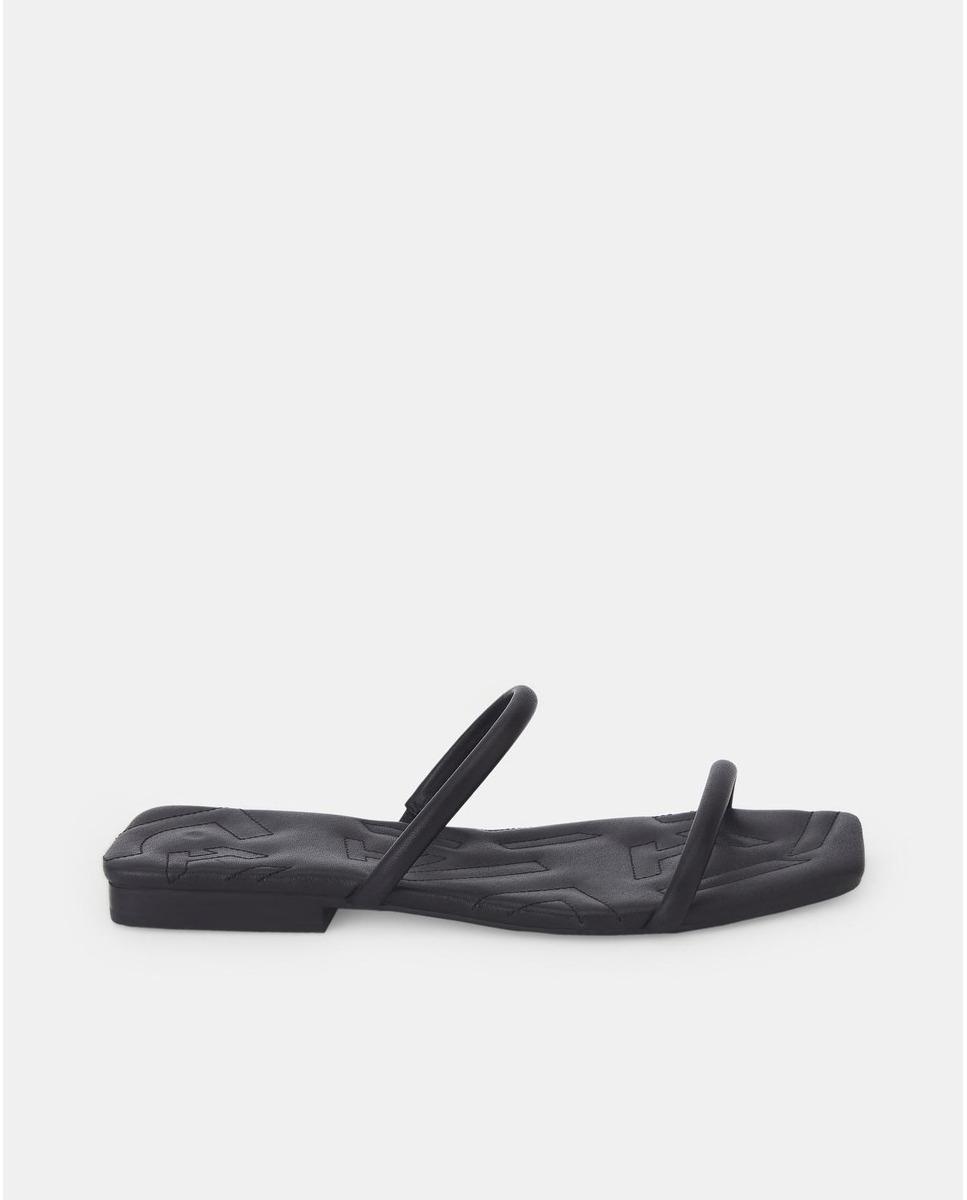 Sandalias plana de mujer Adolfo Domínguez de piel en negro
