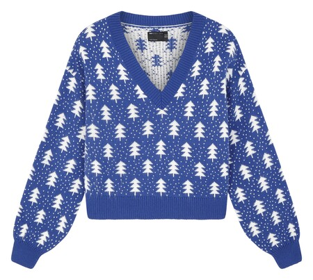 Asos Design V Neck Jumper With Christmas Tree Pattern In Blue Gbp28 Next Week