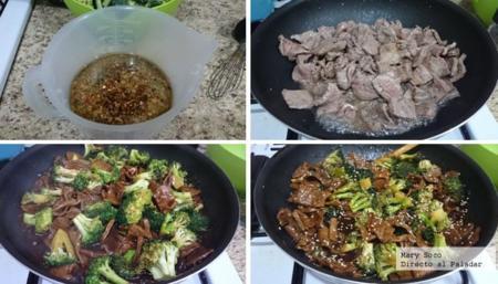 Salteado de brócoli y res