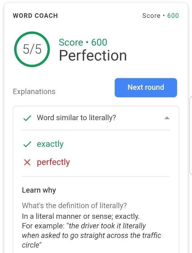 Google Word Coach
