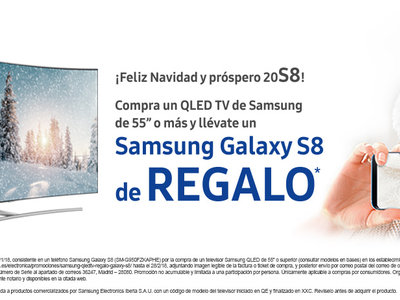 Samsung Galaxy S8 de regalo al comprar un televisor QLED Samsung de 55 pulgadas o más