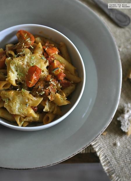 Macarrones con tomate en tres texturas. Un nombre pomposo para una receta de toda la vida