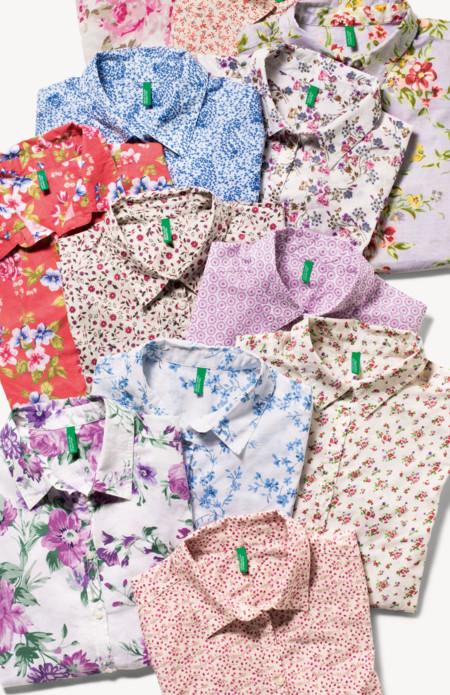 camisas de flores de Benetton