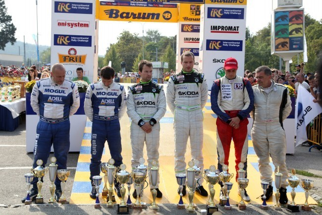 Podio del Barum Rally Zlin