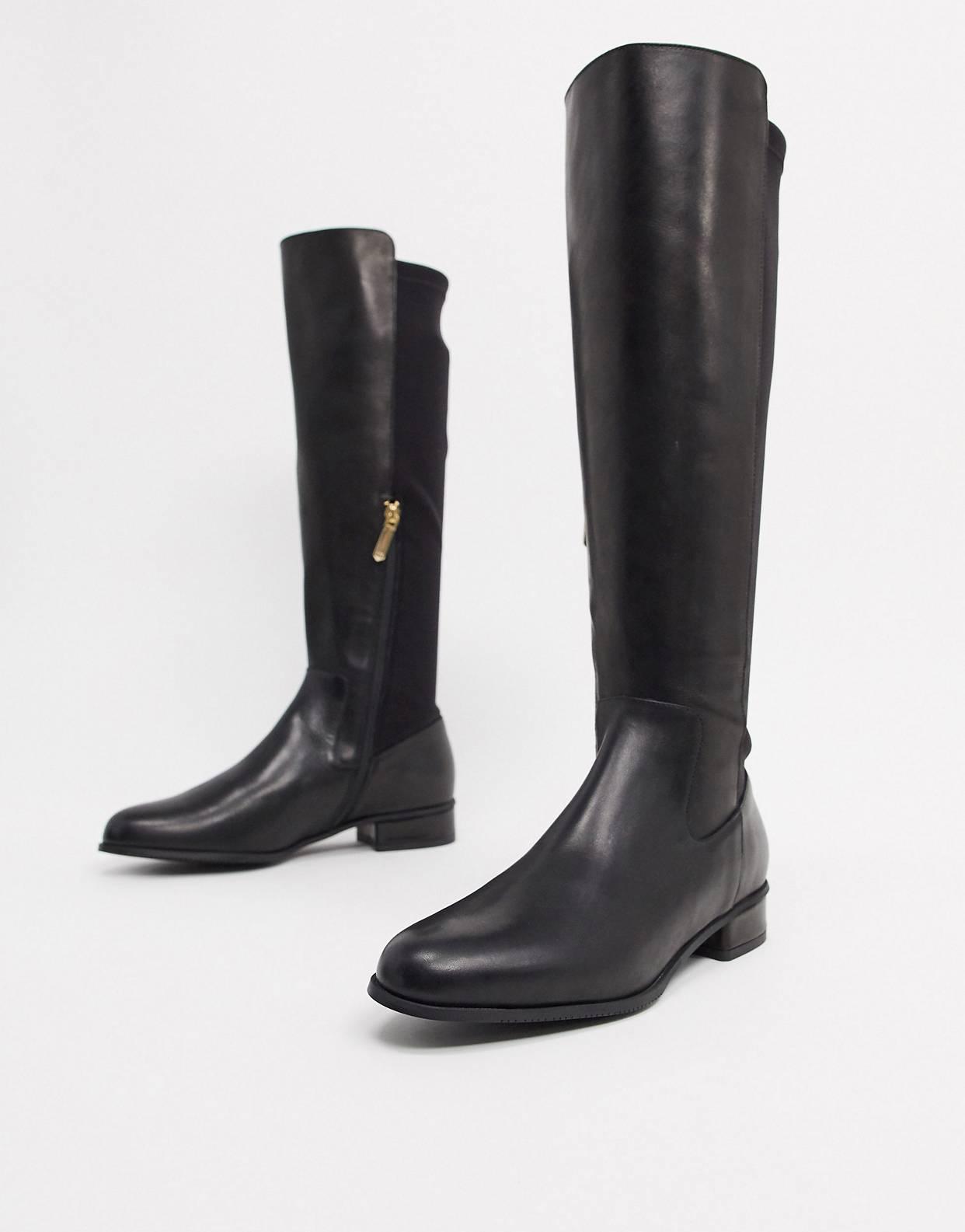 Botas planas altas de cuero negro Olivia de Karen Millen