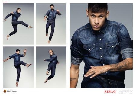 Neymar Pique Iniesta Replay Barcelona Jeans