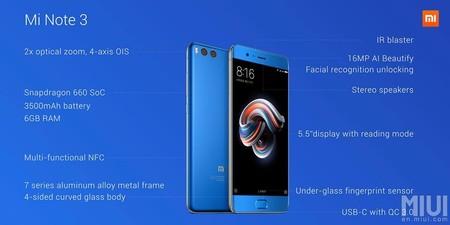 Xiaomi Note 3 Especificaciones