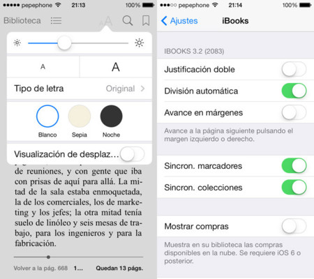 Configuración de iBooks