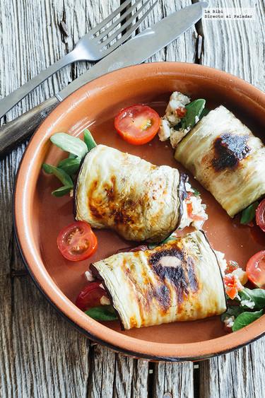 Rollitos de berenjena rellenos de jamón y queso. Receta