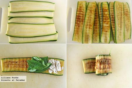 Rollitos de calabacín rellenos de espinacas y queso de cabra. Pasos