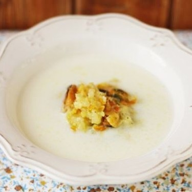 Crema parmentier al ajo con mejillones a la naranja, receta con Thermomix