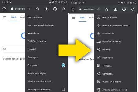 Google Chrome para Android activa el rediseño de su menú a todos los usuarios