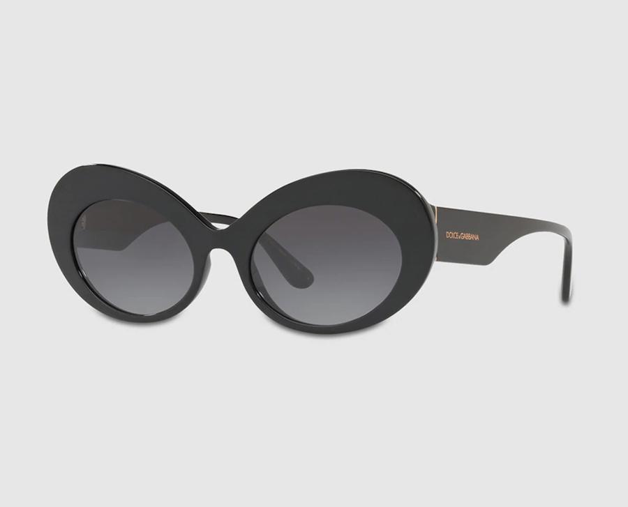 Gafas de sol de mujer Dolce & Gabbana ovaladas de acetato en negro