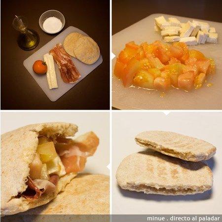 comida para llevar - pita de jamón y queso brie - elaboración