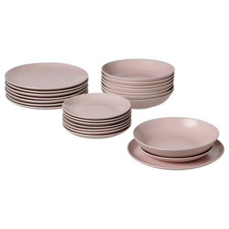 Vajilla de 24 piezas en mate rosa claro