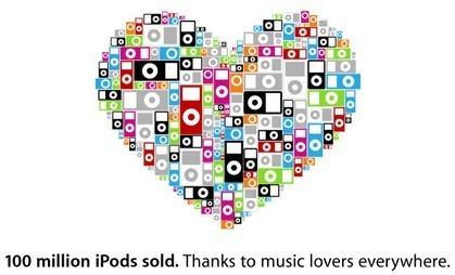 Apple anuncia que ya se han vendido 100 millones de iPods en todo el mundo
