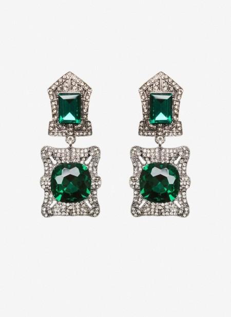 Pendientes Cristal Verde Uterque
