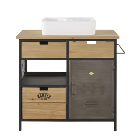 Sink Cabinet With 3 Drawers And 1 Door In Fir And Metal 1000 10 31 197856 1