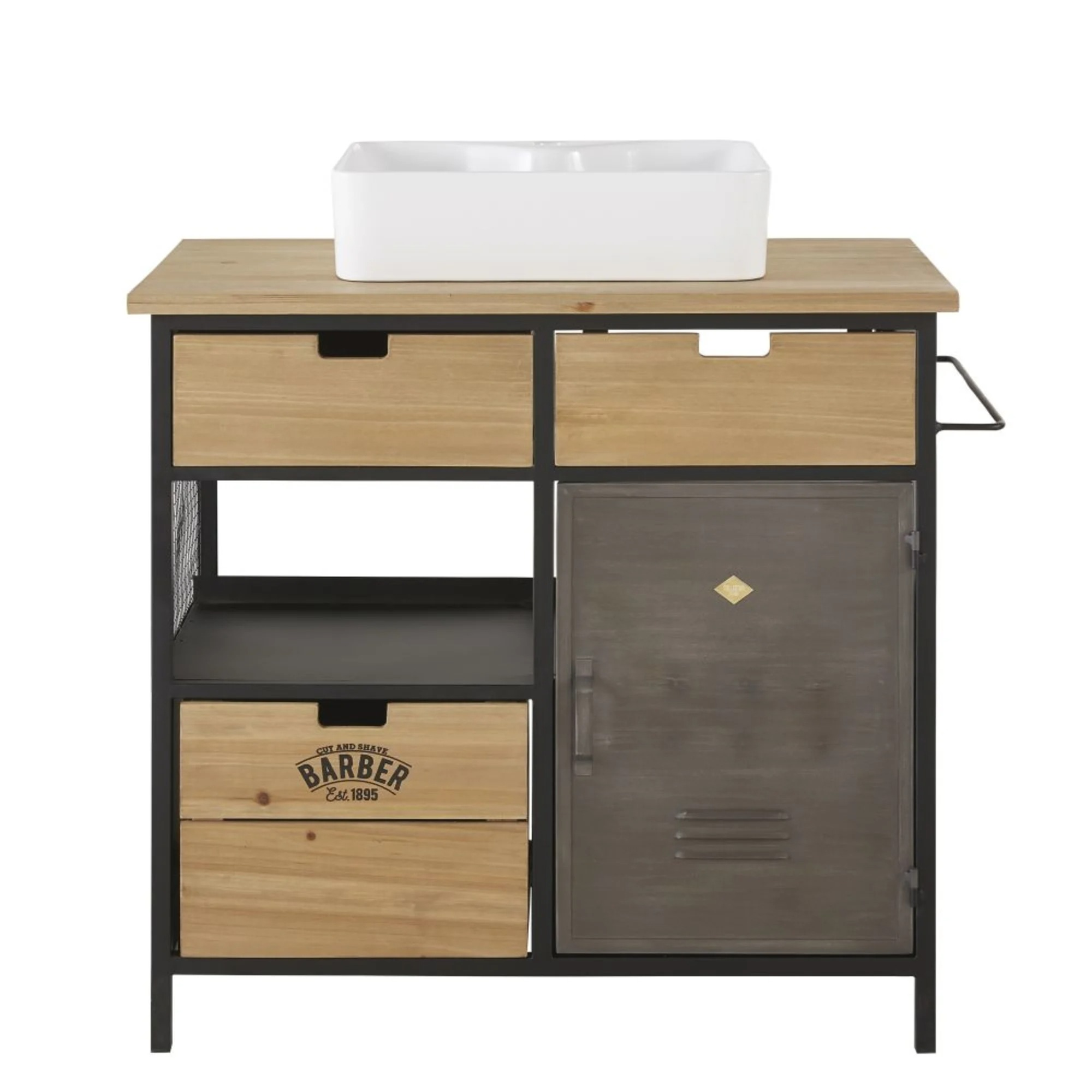 HARVEY.  Washbasin cabinet with 3 drawers and 1 door in fir and metal