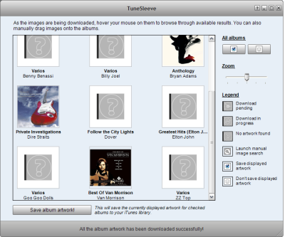 Tunesleeve, artwork inteligente en iTunes para Windows