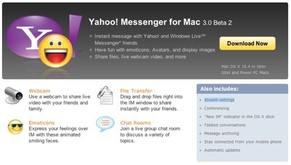 Yahoo Messenger Mac 3.0 beta 2 ya listo para ser descargado