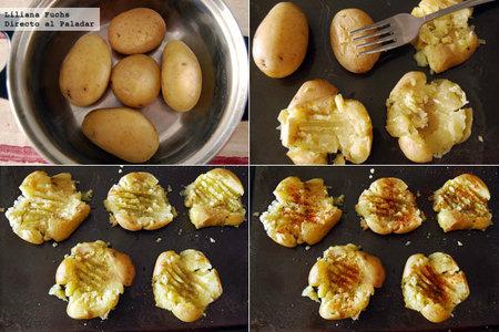 Patatas machacadas. Pasos