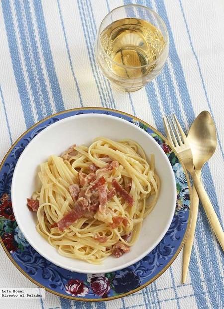 Tallarines con jamón y huevo, receta fácil, rápida y deliciosa