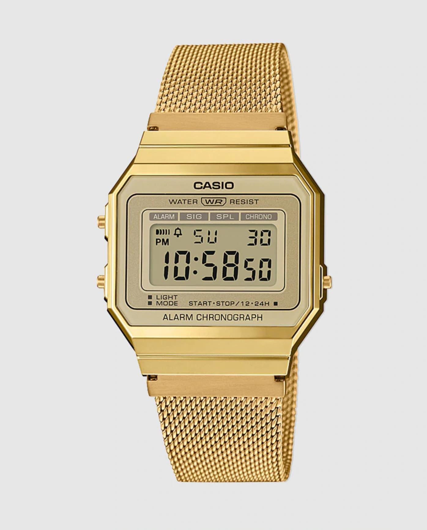 Reloj Unisex Vintage A700WEMG-9AEF de malla de acero dorado