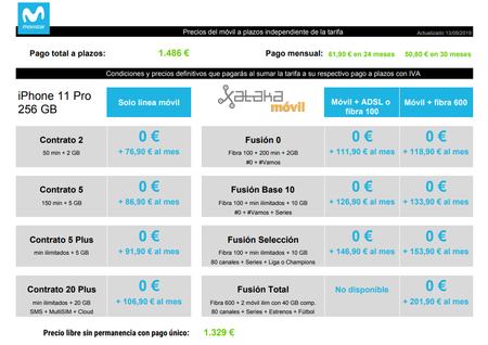 Precios Iphone 11 Pro De 256 Gb Con Tarifas Movistar