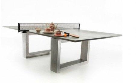 Una mesa de ping pong para comer