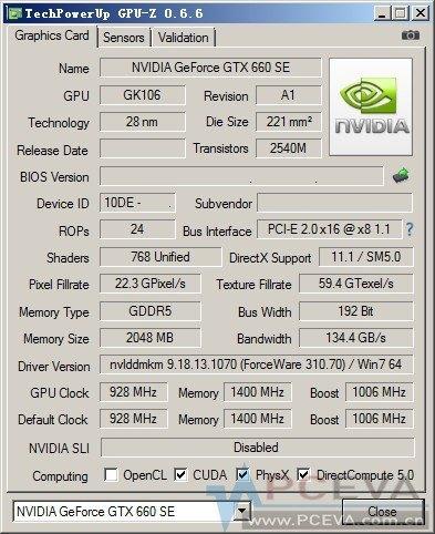 NVidia GTX 660 SE GPUz