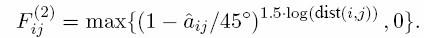 ...dónde âij es la desviación de puntería del jugador i al jugador j, siendo el ángulo entre el vector de avance del jugador i y el vector de dirección del jugador i al jugador j. Flipas.