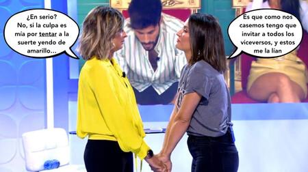 Nagore Robles hinca rodilla para Sandra Barneda en 'Mujeres y Hombres y Viceversa', pero porque se le cayó la lentilla