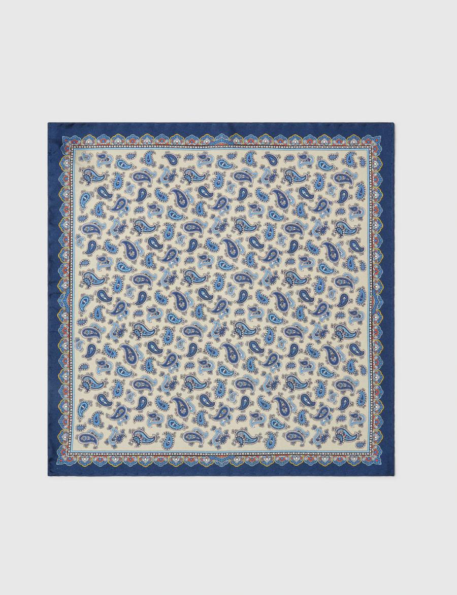 Pañuelo de bolsilo en seda azul con estampado