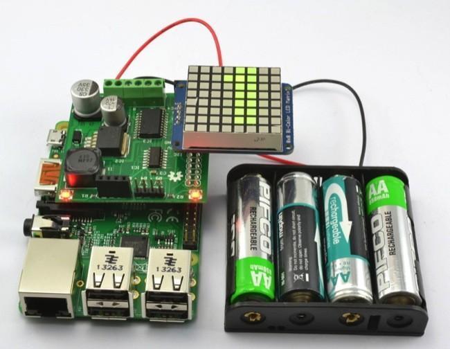 Agrega un display de 8X8 y alimentación por baterías a tu Raspberry Pi