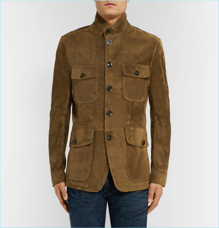 Tom Ford Icon Military Slim Fit Suede Field Jacket