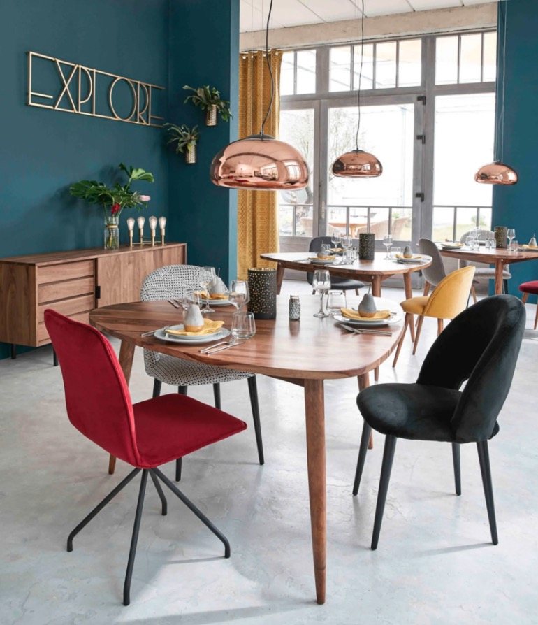 Mesa de comedor vintage de sheesham macizo 6 personas L.136