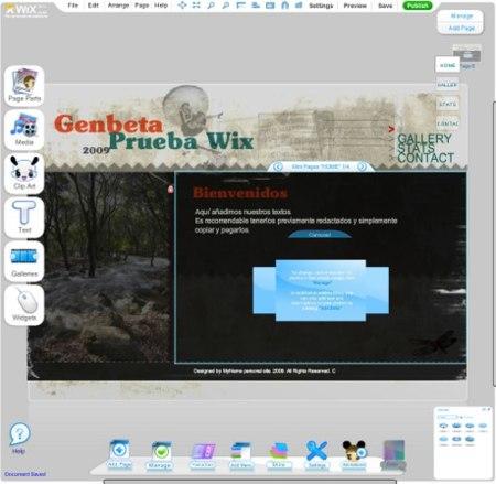 Wix, crea tu página en flash de forma sencilla