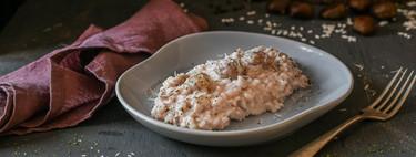 Arroz cremoso de cebolla morada, castañas y parmesano, una receta deliciosa para aportar variedad a tus menús