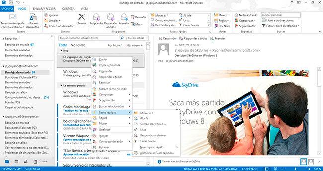 Outlook 2013, gestión de correo