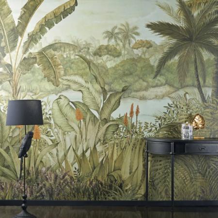 Papel Pintado No Tejido Con Estampado De Paisaje Tropical