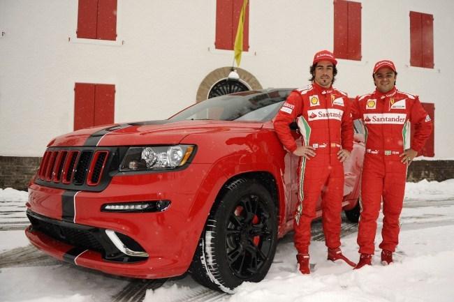 Alonso y Massa con su Jeep Grand Cherokee SRT8 en la nieve