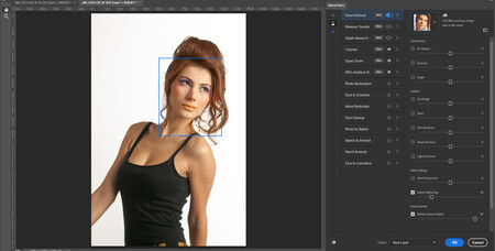 ajuste de rostro inteligencia artificial photoshop 2021