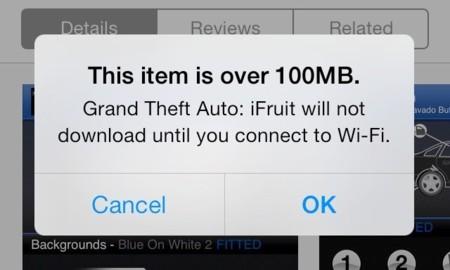 iOS 7 amplía el tamaño de las descargas en la App Store desde redes móviles hasta 100 MB