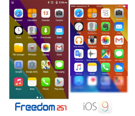 Freedom 251 Phone vs iOS 9