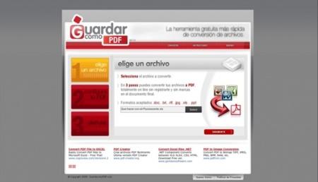 Guardarcomopdf, sencillo conversor online de archivos a PDF