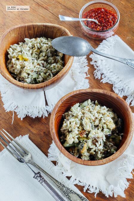 Arroz frito con mariscos y verduras. Receta fácil y rápida