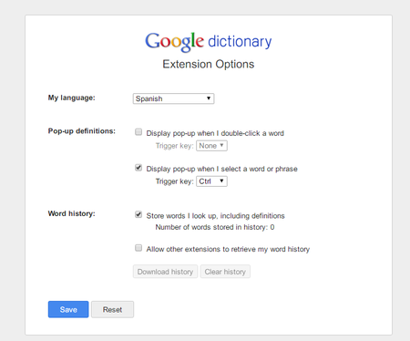 Google Dictionary Extension Options