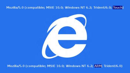 Internet Explorer 10, nuevas cadenas user agent para identificar dispositivos táctiles y arquitectura ARM