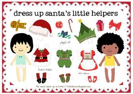 Viste a los ayudantes de Papá Noel con un recortable para imprimir